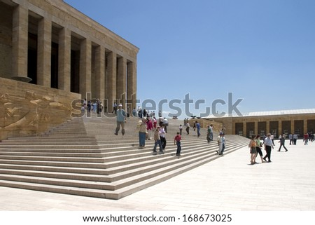 ANKARA, TURKEY - DEC 5, 2004. People visit Anitkabir in Ankara on 5 December, 2004.