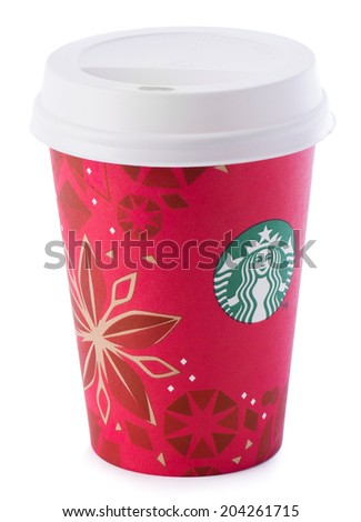 Ankara, Turkey - December 16, 2013:A Starbucks disposable coffee cup with new year design - stock photo