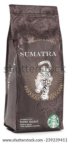 Ankara, Turkey - December 10, 2014:  Pack of Starbucks Sumatra coffee isolated on white background.  - stock photo