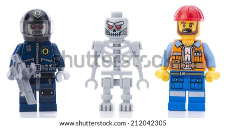 Ankara, Turkey - February 12, 2014 : Lego movie minifigure characters isolated on white background.  - stock photo
