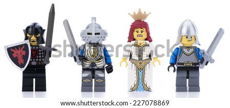 Ankara, Turkey - February 12, 2014 : Studio shot of Lego Kingdom minifigures including princess, soldier and knights isolated on white background.  - stock photo