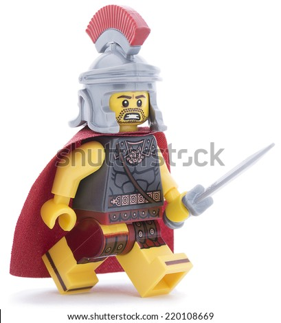 Ankara, Turkey - June 20, 2013 : Studio shot of a Lego Roman soldier with sword isolated on white background. - stock photo