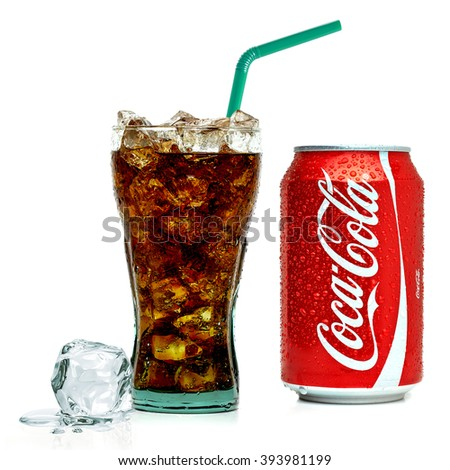 ANKARA TURKEY - March 20, 2016 Editorial photo of Classic Coca-Cola can and glass on white background. Coca-Cola Company is the most popular market leader in Turkey.  - stock photo