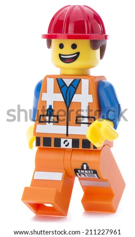 Ankara, Turkey - March 15, 2014 :  Lego movie minifigure character Emmet walking isolated on white background.  - stock photo