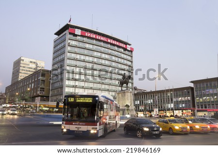 ANKARA, TURKEY - MARCH 22: ULUS square , city center of Ankara, Ankara is the capital city of Turkey on 29 June 2014, Ankara , it is the second most crowded city of Turkey - stock photo