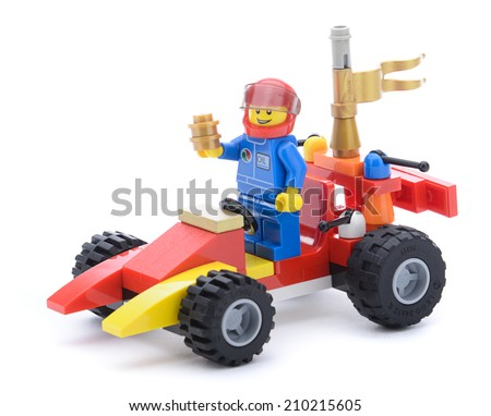 Ankara, Turkey  May 23, 2013:  Colorful Lego race car created with Lego blocks isolated on white background.  - stock photo