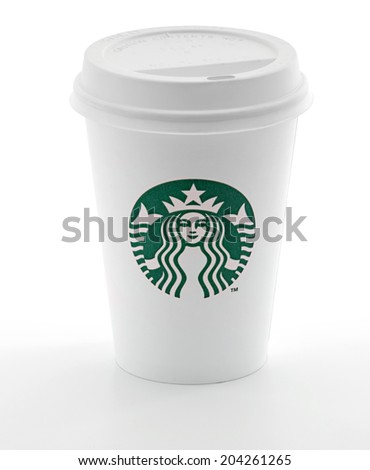 Ankara, Turkey - May 31, 2012: Cup of Starbucks coffee with new logo isolated on white background - stock photo