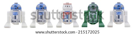 Ankara, Turkey - May 28, 2013: Lego Star Wars minifigure Sandtrooper walking in front of sandtroopers and stormtroopers isolated on white background. - stock photo
