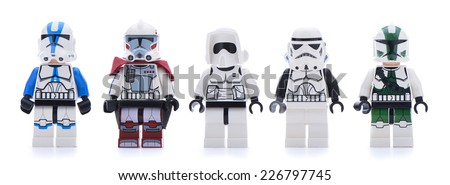 Ankara, Turkey - May 28, 2013: Lego Star Wars minifigure sandtroopers and stormtroopers isolated on white background.   - stock photo