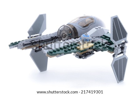 Ankara, Turkey - May 23, 2013: Lego Starwars Anakin's Jedi Interceptor isolated on white background. - stock photo