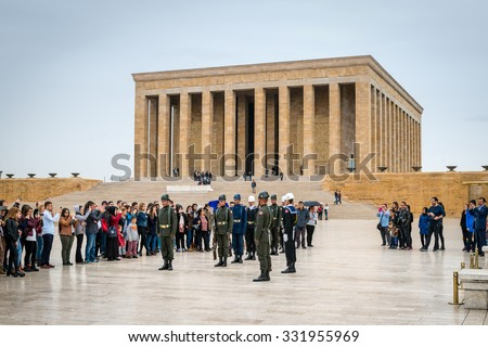 Ankara, Turkey - October 23, 2015: Changing of the guards in mausoleum of Mustafa Kemal Ataturk - the founder of the Republic of Turkey.