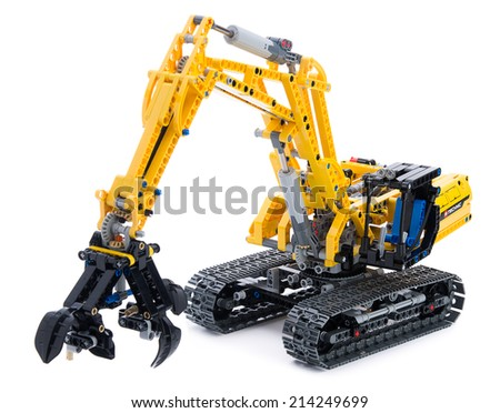 Ankara, Turkey - October 27, 2013:  Lego technic excavator isolated on white background. - stock photo