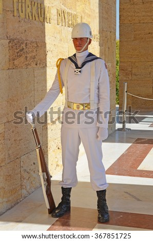 Ankara, Turkey - September 19, 2015: Soldier at guards in mausoleum of Mustafa Kemal Ataturk - the founder of the Republic of Turkey.