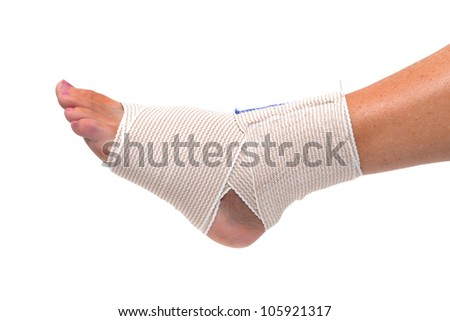 ankle and foot wrapped in bandage