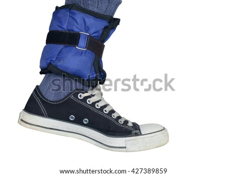 Ankle with healthy sandbags on white background.