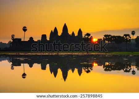 Ankor Wat, photo taken at sunrise Cambodia - stock photo