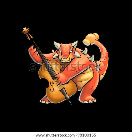 Ankylosaurus playing a Double Bass - stock photo