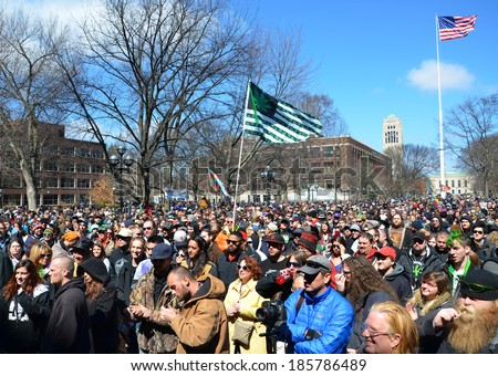 ANN ARBOR, MI - APRIL 5: A crowd attends the 43rd annual Hash Bash rally in Ann Arbor, MI April 5, 2014. - stock photo