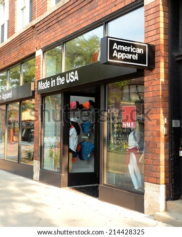 ANN ARBOR, MI - AUGUST 30: American Apparel, whose Ann Arbor store is shown on August 30, 2014, had its credit rating downgraded recently by Standard & Poor's.  - stock photo