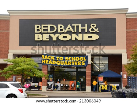 ANN ARBOR, MI - AUGUST 24: Bed Bath & Beyond, whose Ann Arbor store is shown on August 24, 2014, has seen its stock drop 16% the past year.  - stock photo