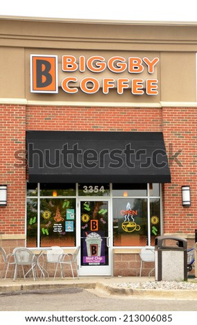 ANN ARBOR, MI - AUGUST 24: Biggby Coffee, whose east Ann Arbor store is shown on August 24, 2014, has over 100 franchises in the United States. - stock photo