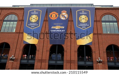 ANN ARBOR, MI - AUGUST 2:  International Champions Cup banners outside the University of Michigan stadium on August 2, 2014 in Ann Arbor, MI. - stock photo