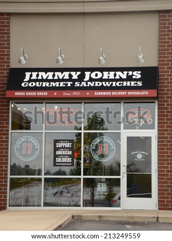 "ANN ARBOR, MI - AUGUST 24: Jimmy John's, whose east Ann Arbor store is shown on August 24, 2014, was recently sued by two former employees for ""systematic wage theft."" - stock photo"