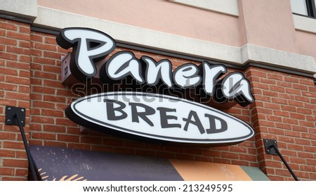 ANN ARBOR, MI - AUGUST 24: Panera Bread, whose logo at the east Ann Arbor store is shown on August 24, 2014, has seen their shares drop 14% so far in 2014.  - stock photo