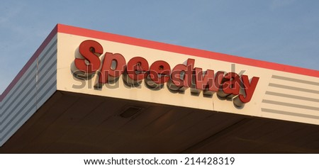 ANN ARBOR, MI - AUGUST 30: Speedway, whose northeast Ann Arbor location logo is shown on August 30, 2014, has almost 1,500 convenience stores in nine states.  - stock photo