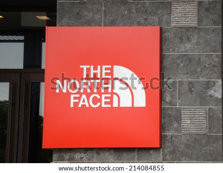 ANN ARBOR, MI - AUGUST 24: The North Face, whose Ann Arbor storefront is shown on August 24, 2014, recently announced a Responsible Down Standard to assure animal welfare. - stock photo