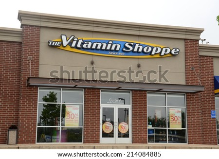 ANN ARBOR, MI - AUGUST 24: The Vitamin Shoppe, whose Ann Arbor store is shown on August 24, 2014, has over 659 stores in 44 states.  - stock photo