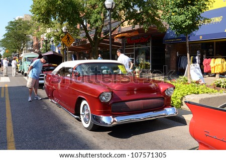 ANN ARBOR, MI - JULY 13: 1955 Chevrolet at the Rolling Sculpture car show July 13, 2012 in Ann Arbor, MI. - stock photo