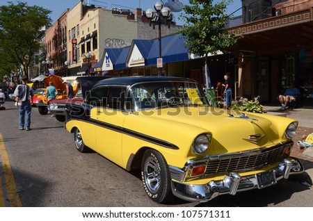 ANN ARBOR, MI - JULY 13: 1956 Chevrolet Bel Air at the Rolling Sculpture car show July 13, 2012 in Ann Arbor, MI. - stock photo