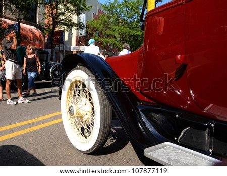 ANN ARBOR, MI - JULY 13: 1916 Detroit Electric at the Rolling Sculpture car show July 13, 2012 in Ann Arbor, MI. - stock photo