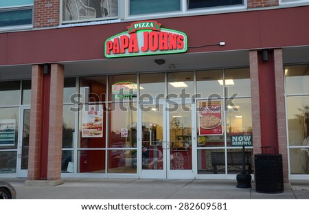 ANN ARBOR, MI - SEPTEMBER 2:  Papa John'??s, whose Ann Arbor, MI store is shown on September 2, 2014, has 4,600 locations in 34 countries. - stock photo