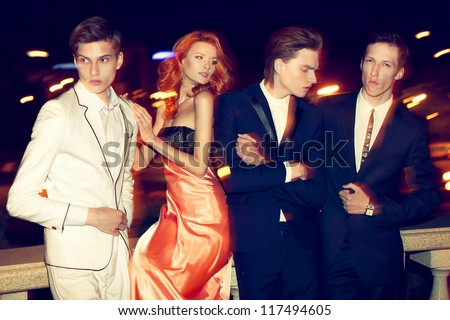 Anna and the boys - stock photo