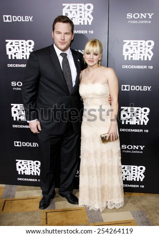 "Anna Faris and Chris Pratt at the Los Angeles premiere of ""Zero Dark Thirty"" held at the Dolby Theatre in Los Angeles, United States, 101212.  - stock photo"