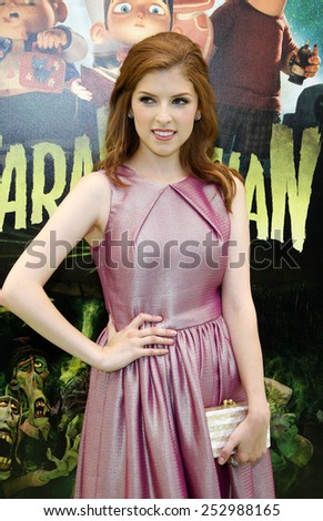 """Anna Kendrick at the Los Angeles premiere of """"ParaNorman"""" held at the Universal CityWalk in Los Angeles, United States on August 5, 2012.  - stock photo"""