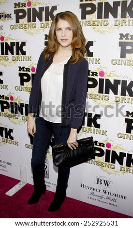 Anna Kendrick at the Mr. Pink Ginseng Drink Launch Party held at the Regent Beverly Wilshire Hotel in Los Angeles, United States, 11/10/12.  - stock photo