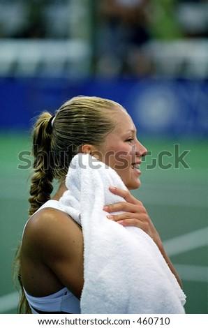 Anna Kournikova After Upsetting Lindsay Davenport, 2000 Acura Tennis Classic - stock photo