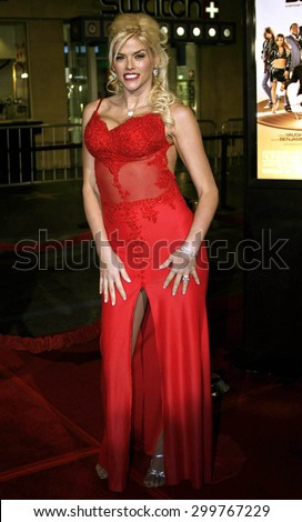 """Anna Nicole Smith attends the Los Angeles Premiere of """"Be Cool"""" held at the Grauman's Chinese Theater in Hollywood, California on February 14, 2005.   - stock photo"""