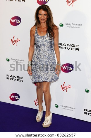 Annabel Croft arriving for the Pre Wimbledon Party, Kensington Roof Gardens, London. 16/07/2011  Picture by: Alexandra Glen / Featureflash