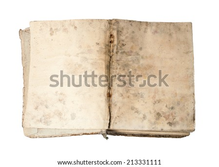 Annals tattered grungy notebook in beige cardboard cover with spotted weathered yellowed pages with ragged edges isolated on white backdrop with clipping mask. Close-up view with space for text - stock photo