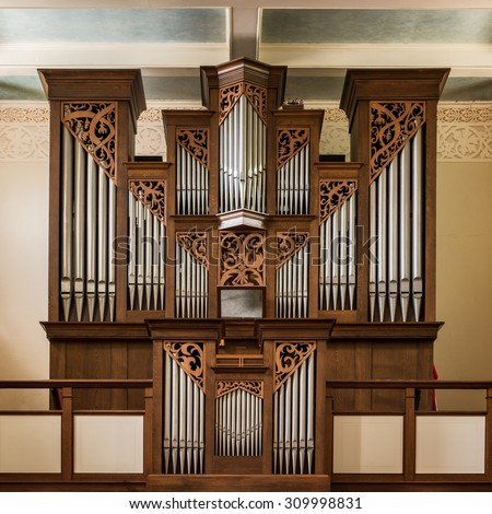 ANNAPOLIS, MARYLAND - JULY 17:  Pipe organ in St. Anne's Episcopal Church on Duke of Gloucester Street on July 17, 2015 in Annapolis, Maryland  - stock photo