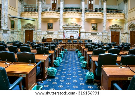 Annapolis, Maryland, June 26, 2015:  The Maryland General Assembly meets for 90 days each year between January and April.  The Maryland House of Delegates in the state house is shown on June 26, 2015. - stock photo