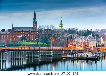 Annapolis, Maryland, USA State House and St. Mary's Church viewed over Annapolis Harbor and Eastport Bridge. - stock photo