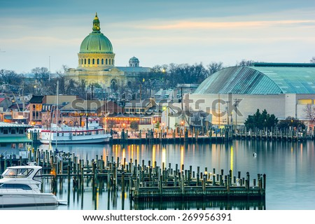 Annapolis, Maryland, USA town skyline at Chesapeake Bay with the United States Naval Academy Chapel dome. - stock photo
