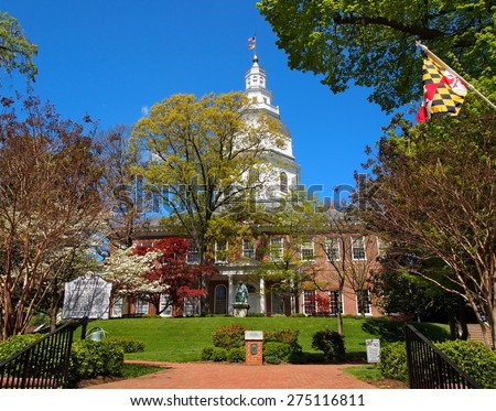 ANNAPOLIS, MD - APRIL 29, 2015: The Maryland State House, in Annapolis, MD, the capitol of the state of Maryland, on a spring day. - stock photo