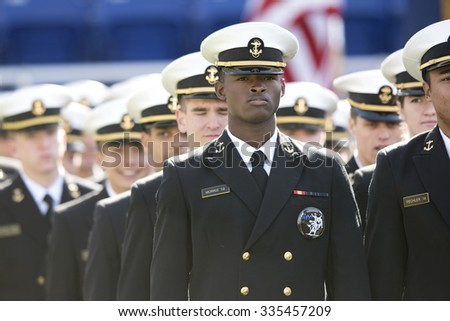 ANNAPOLIS, MD - OCTOBER 31: The Brigade of Midshipmen march into the stadium prior to the AAC football game October 31, 2015 in Annapolis, MD.  - stock photo