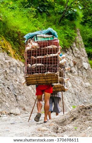 Annapurna circuit trek/Nepal - August 25, 2009. Porters with goods way to Manang, Annapurna circuit trek - stock photo